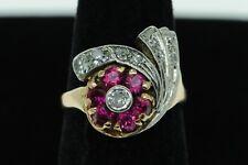 Art Nouveau (ca. 1920) 14K Rose Gold Platinum European Diamond Ruby Ring (5 3/4)