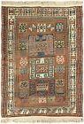 4x6 Antique Caucasian Pinwheel Kazak Rug Rare Wool Tribal 109cmx173cm  C.1880