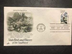 #1958 U/A Artcraft FDC 1982 State Birds and Flowers M091 Colorado Lark Bunting