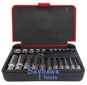 "22-Pc 1/4"" & 1/8"" DR. Female Star TORX Socket Set E4-E10 & E11-E18 with Case"