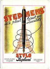 Ancienne pub des années 40 sur les stylos STEPHEN'S / plume / Encre / 27x37 cm