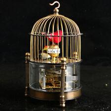 Old antique  Brass Mechanical clock -birdcage shape two bird