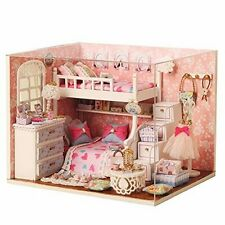 Dollhouse Miniature DIY Kit with Cover and LED Wood Toy Doll House Room Model