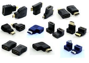 Micro MIni HDMI Verbinder Adapter Buchse Kupplung-Stecker Winkel Full HD TV