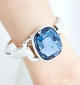 New UNO De 50 Silver Tone Ecstasy Inner Peace Blue Crystals Bangle Bracelet