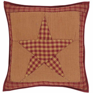 NINEPATCH STAR QUILT SHAM PILLOW SKIRT : ONE STOP SHOPPING - RED BROWN PRIMITIVE
