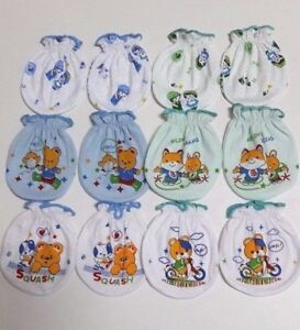 6 PAIRS 100% COTTON MITTENS GLOVES BABIE NEW BORN BABY KIDS INFANT Hand Toddler
