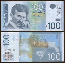 SERBIA Nikola Tesla 100 dinars banknote UNC