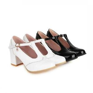Women's Chunky High Heels T-Shaped Buckle Mary Jane Lolita High Heels Court Shoe
