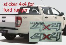 "PAIR SET STICKER DECALS ""4X4"" SILVER-RED FOR FORD RANGER T6 UTE 2012-ON WILDTRAK"