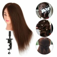 26'' 100% Real Hair Hairdressing Practice Training Head Mannequin Doll+Clamp AU