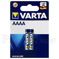 2 x Varta AAAA batteries Alkaline 1.5V Mini 4061 LR8D425 MX2500 LR61 Pack of 2