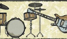 MUSIC ROOM BANDS GUITAR DRUMS AND NOTES Wallpaper Wall bordeR Decor