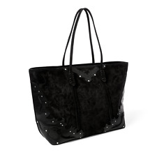 Polo Ralph Lauren Black Western Zip Tote Embroidered Suede Leather Shoulder Bag