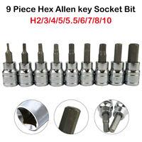 """9x 3/8"""" Drive Torx Hex Allen Key Bit Socket Set Wrench Head 2 3 4 5 5.5 6 8 10mm"""
