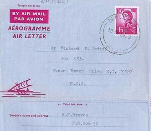 BP24 FIJI Cover 1966 *Nausori* Illustrated Air Letter QEII 10d Die {samwells}