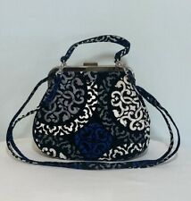 """VERA BRADLEY Mini Crossbody Handbag Purse """"Canterberry/Cobolt"""" Blk~Blue~Gray"""