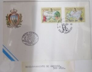 A) 1992, SAN MARINO, DISCOVERY OF AMERICA, FDC, THE FIRST LANDING, ROUTES OF THE
