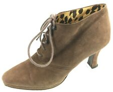 SH20 Valentino Couture 6.5 Italy Brown Suede Lace Up Bootie Oxford Heels