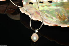 White Cultured Pearl 8-9mm Pearl Pendant 18KGP White Gold Plated Snake Necklace