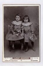 PHOTO CABINET Deux enfants Jumeaux Florent Miesienski Avignon Fleurs 1900