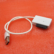 SATA Slimline to USB 2.0 Adapter Cable Laptop CD DVD Rom Drive 7+6 13Pin White