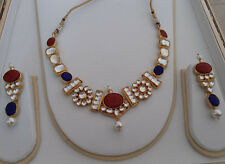 Kundan Necklace Earring Set Coral Blue white Kundan Bridal Jewelry from India US