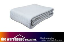 KOMMOTION WHITE 100 COTTON COT BABY CRIB BLANKET CELLULAR PEBBLE WEAVE 114X152