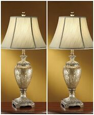 "TWO NEW LARGE 33"" AGED FINISH TABLE LAMP SILK SHADE URN STYLE BODY ACCENT LIGHT"