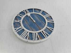 Oldtown Farmhouse Metal & Solid Wood Noiseless Wall Clock, Coastal Blue, 18-inch