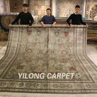 YILONG 10'x14' Huge Four Seasons Silk Carpet Vintage Hand knotted Area Rug 555A