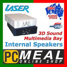"LASER Internal Multimedia Speakers 3D Sound 5.25"" Bay 2x USB Port Phone White"