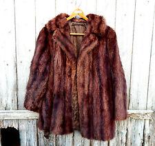 Beautiful Vintage Mahogany Mink Real Fur Jacket Coat - UK Size 12 / 14 Medium