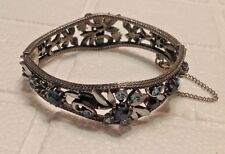 Vintage Florenza Rhinestone Hinged Silver Tone Bracelet With Safety Chain L@@K