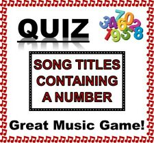 'SONG TITLES CONTAINING A NUMBER' Quiz - 10 A5 Sheets - Fantastic Fun!