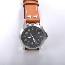 Neiton 42mm black dial sapphire crystal high luminous cow skin belt watch