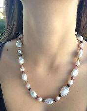 Collana in Argento 925 con perle barocche e tormaline  made in Italy