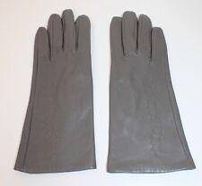 50er 50s 60er 60s Vintage TRUE VTG LEDER Handschuhe LEATHER GLOVES grau Größe 5