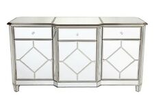 Large Mirror Buffet Sideboard 3 door and 3 drawers with antique silver trim
