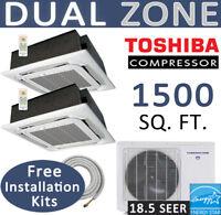30000 BTU Ductless Mini Split AC / Heat Pump: 12k+18k Ceiling, Linesets included