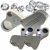 FREESH 2in1 2 LED 30X 22mm 60X 12mm Loop Magnifier Jeweler Eye Loupe Glass Lens