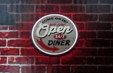 led lighted neon rope sign shop decor message display open 24/7 diner home den