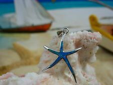 STERLING SILVER HIGH POLISHED STARFISH PENDANT WITH BLUE OPAL