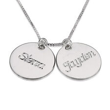 Two Name Love Small Disc Necklace- Sterling Silver Personalized Mom Necklace