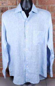 Peter Millar Crown Cool Linen L/S Button Down Shirt Blue Size Medium