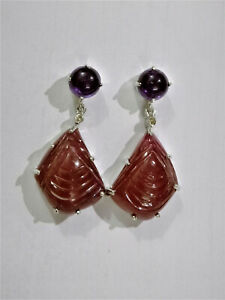 925 Sterling Silver Natural Ruby Handmade Amethyst Gemstone Jewelry Earrings