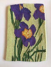 VTG HANDWOVEN IRIS FLOWER Floral TAPESTRY WALL TEXTILE FOLK Art Walter Blumenau