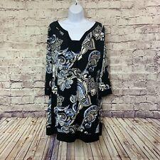 White House Black Market Womens Black Paisley Print Sheath Dress Large