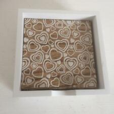 Shabby Country Style Chic Set of 4 Wooden Coasters with Love Heart Design in box