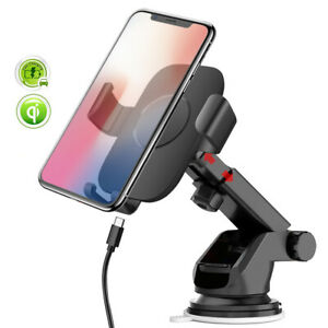 10W Fast Qi Wireless Charger Car Mount Bracket Holder For i Phone 11 8 XS XR X